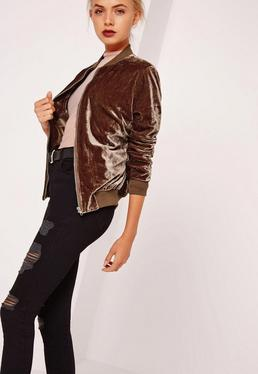 Tall Velvet Bomber Jacket Brown