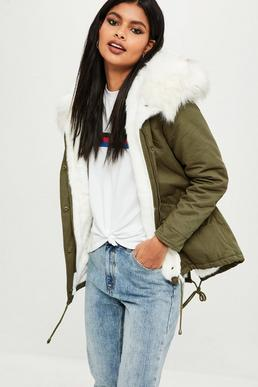 Tall Khaki Short Fur Lined Parka Coat