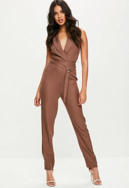 Tall Brown Tailored Tux Jumpsuit