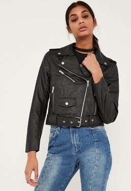 Czarna skórzana kurtka ramoneska dla wysokich kobiet