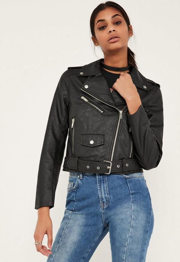 Tall Black Faux Leather Biker Jacket