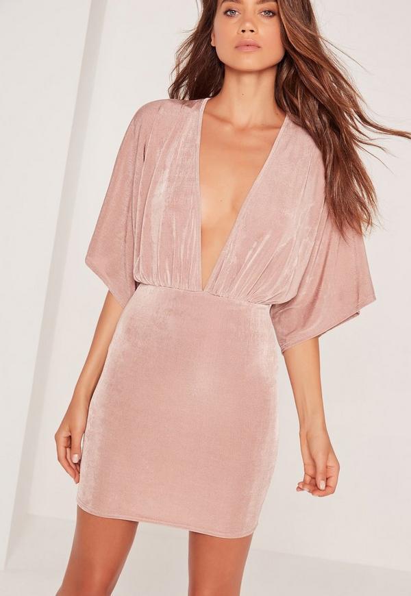 Tall Slinky Plunge Kimono Sleeve Mini Dress Pink