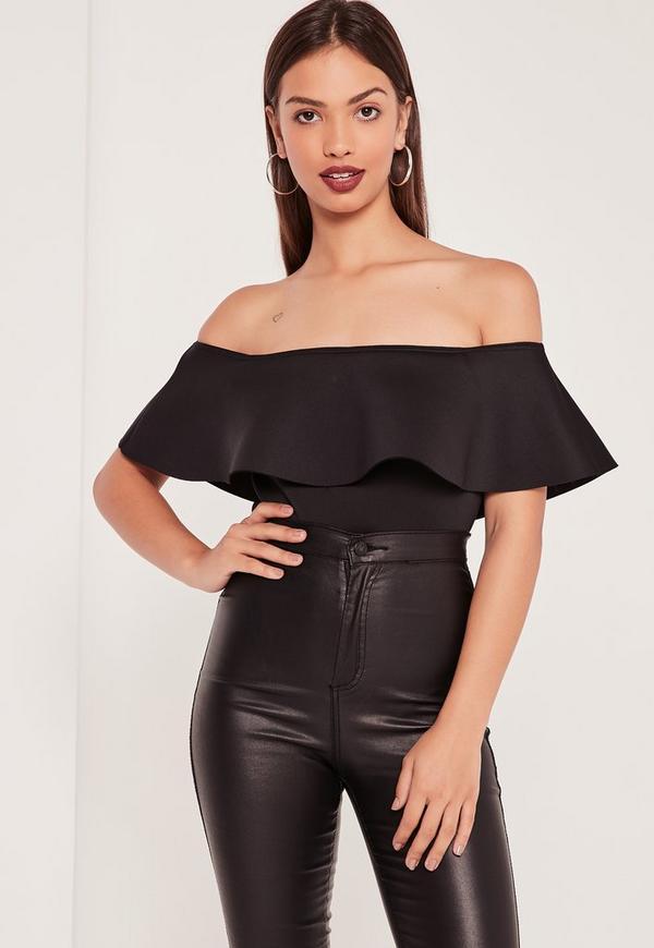 Tall Scuba Bardot Bodysuit Black