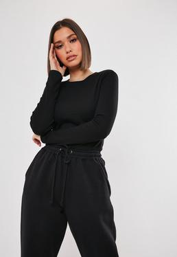 Tall Crew Neck Ribbed Top Black