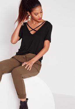 Tall V Neck Cross Strap Front T-Shirt Black