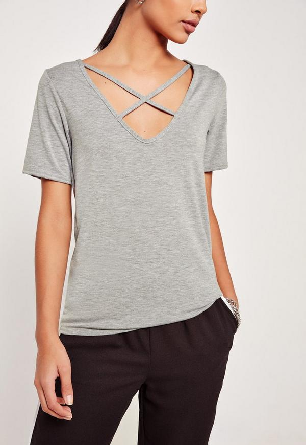 Tall V Neck Cross Strap Front T-Shirt Grey