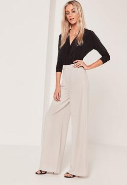 Tall Exclusive Premium Crepe Wide Leg Trousers Grey