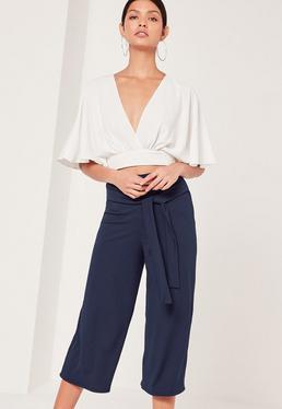 Jupe-culotte côtelée bleu marine Tall avec ceinture