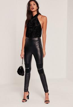 Black Tall Biker Knee Zip Faux Leather Leggings