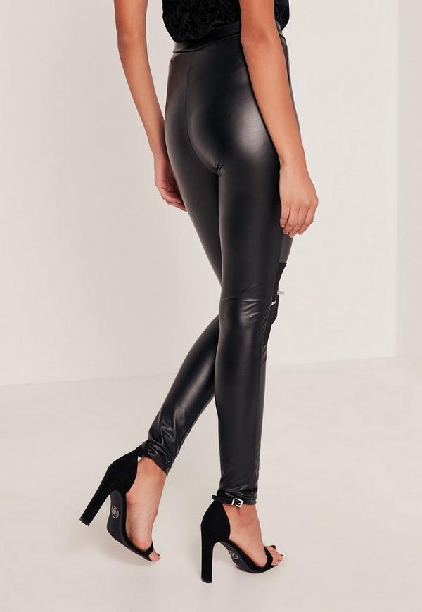 Black Tall Biker Knee Zip Faux Leather Leggings | Missguided