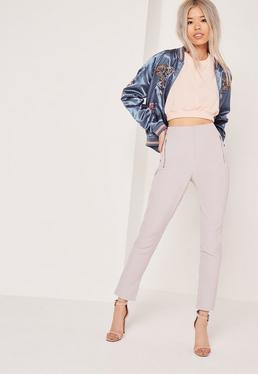 Pantalon cigarette gris poches zippées Tall