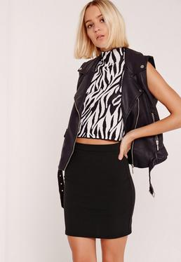 Tall Stretch Crepe Mini Skirt Black