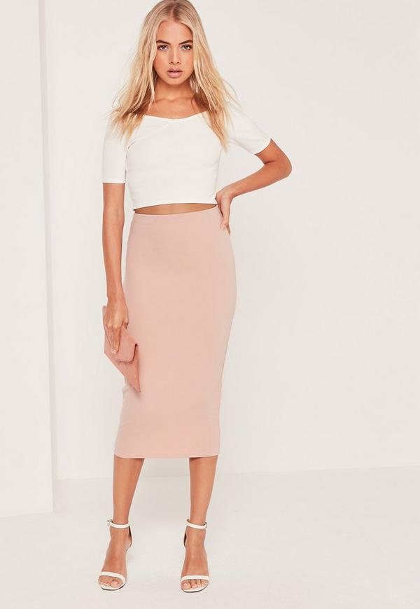 Tall Scuba Midi Skirt Nude