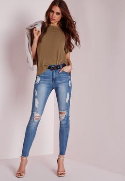 Tall Sinner High Waist Marbled Skinny Jeans Light Blue