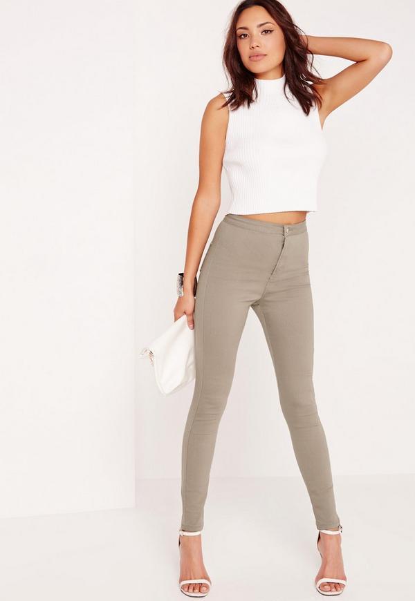 Tall Vice High Waist Skinny Jeans Khaki
