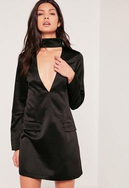 Black Tall Silky Choker Neck Shift Dress