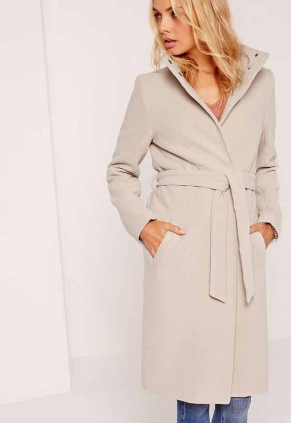 Tall Beige Belted Stand Up Collar Coat