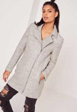 Tall Grey Wool Biker Coat