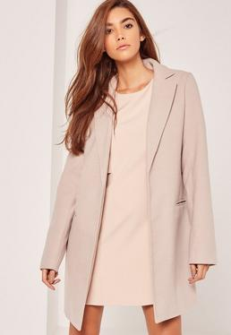 Tall Tailored Faux Wool Coat Nude