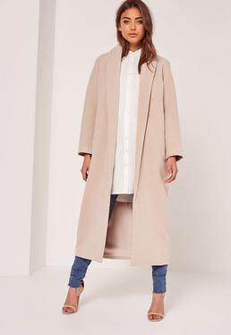 Manteau long nude col châle style laine tall