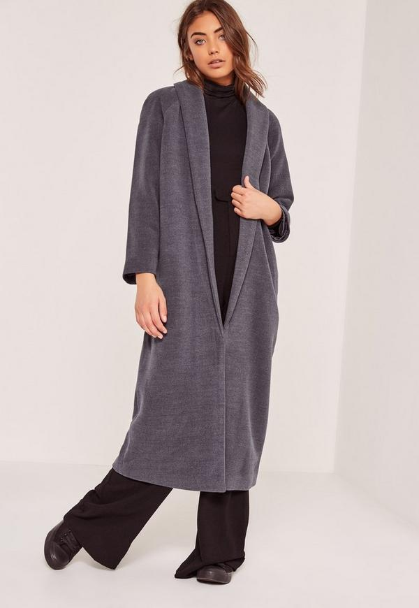 Tall Shawl Collar Wool Maxi Coat Grey