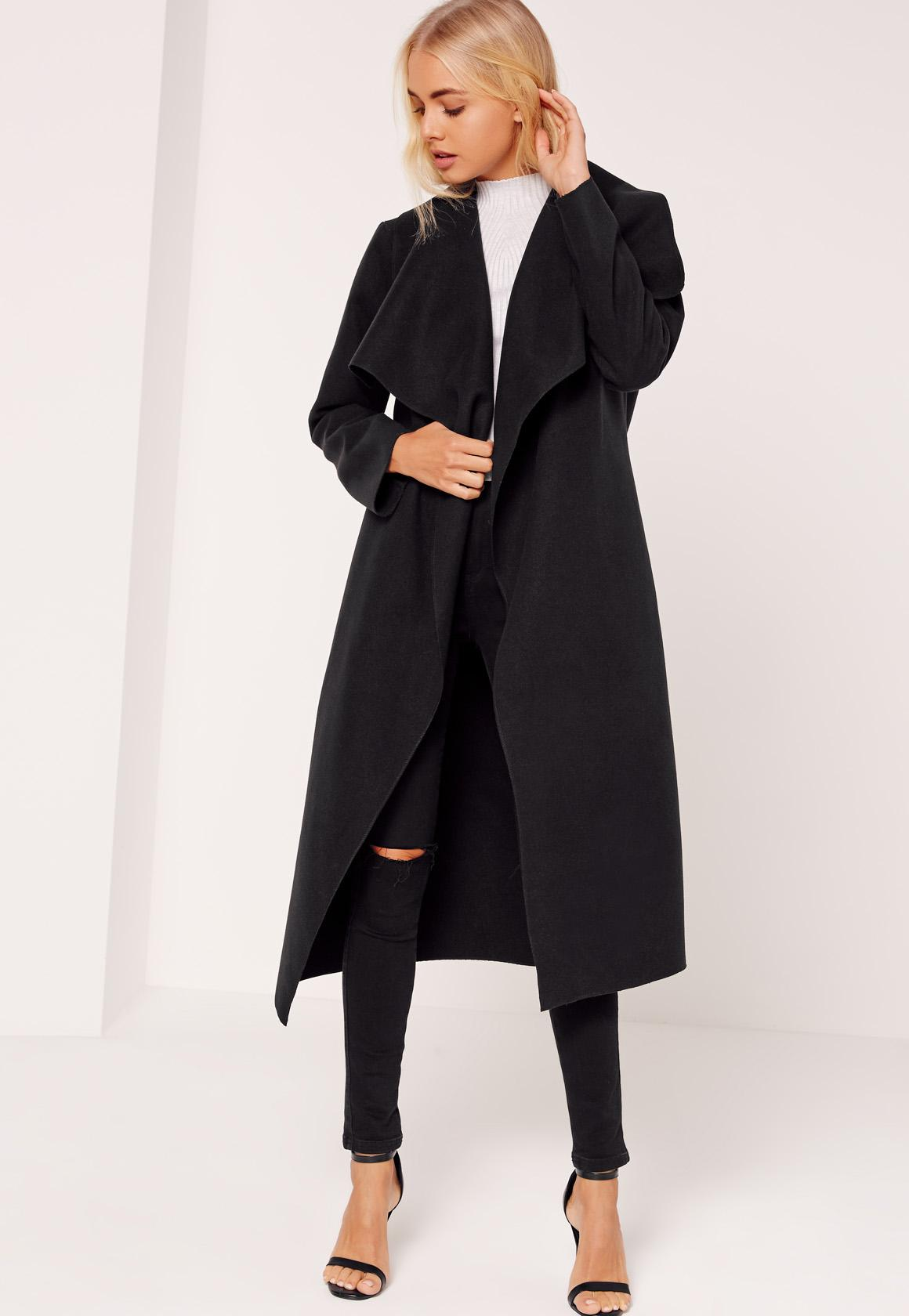 Tall Black Oversized Waterfall Duster Coat | Missguided