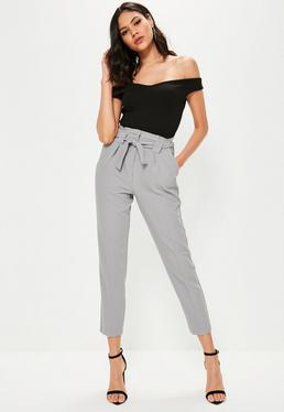 Tall Grey Pleated Waist Cigarette Pants