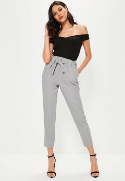 Tall Grey Pleated Waist Cigarette Pants