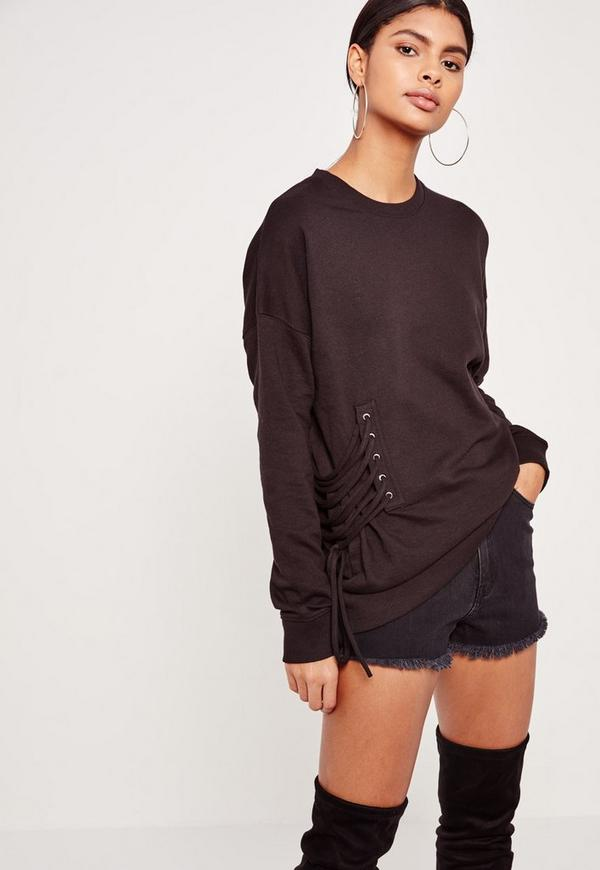 Tall Lace Up Side Sweater Black