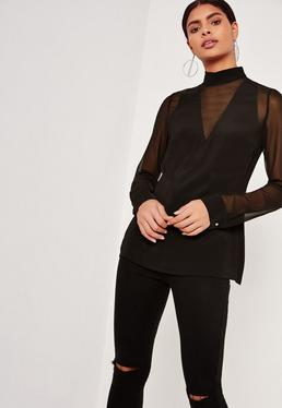 Tall Mesh Insert Chiffon Blouse Black