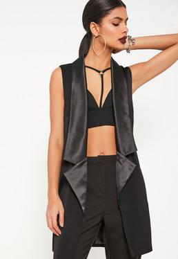 Tall Exclusive Black Sleeveless Longline Tux Blazer
