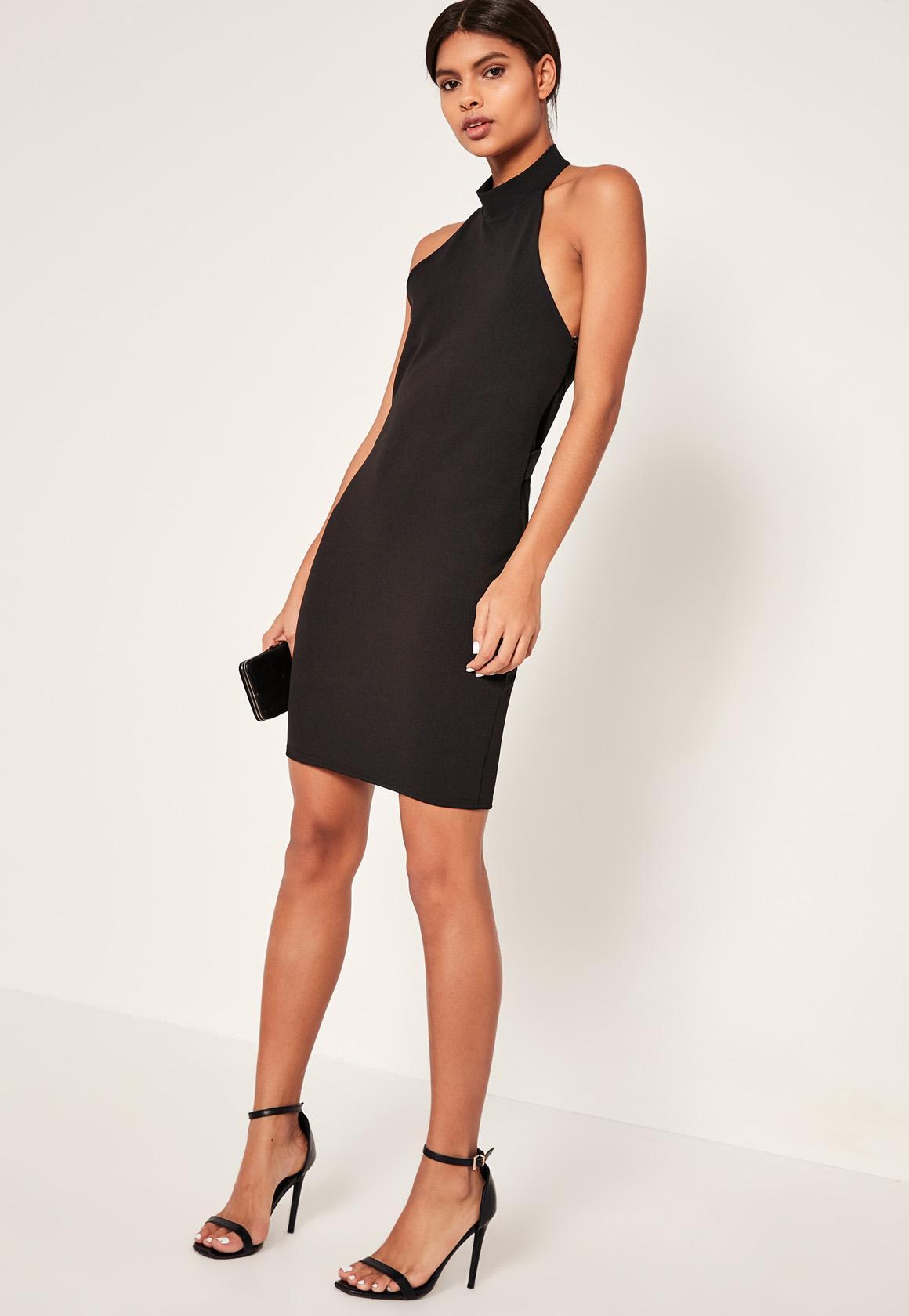 Black dress halter neck - Black Cocktail Dress Halter Neck