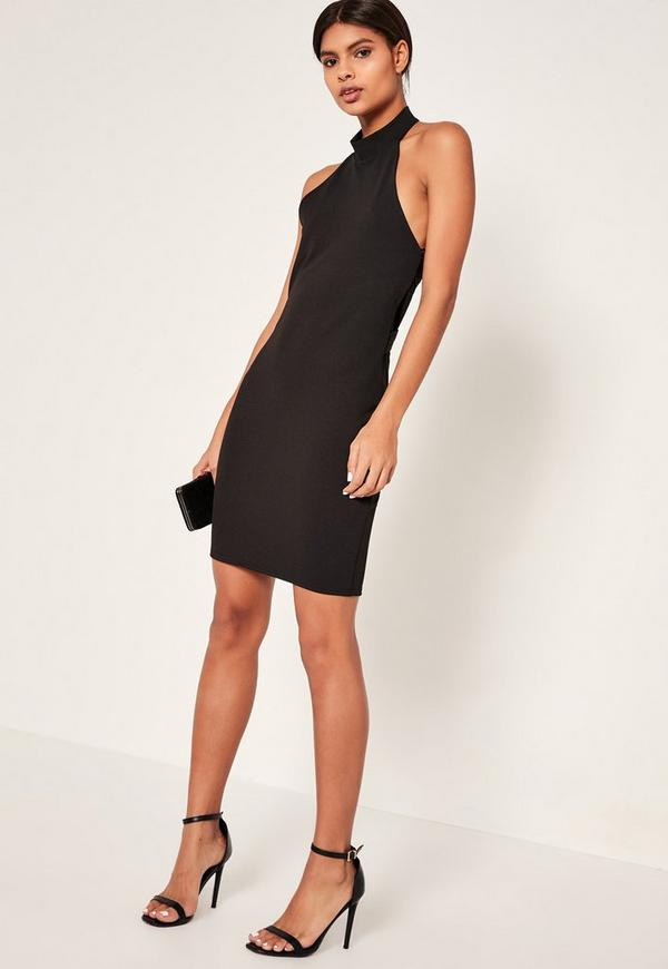 Tall Exclusive Black Halter Neck Crossback Mini Dress