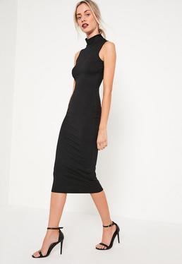 Tall Exclusive Black High Neck Ribbed Midi Dress