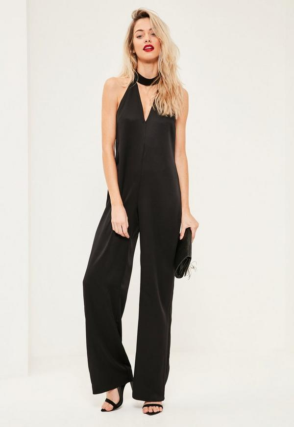 Tall Black Choker Neck Satin Jumpsuit