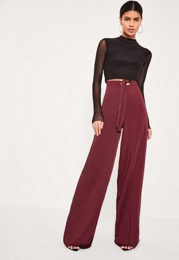 Tall Exclusive Burgundy Satin Wide Leg Trousers