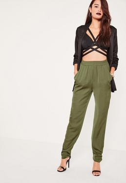 Tall Khaki Satin Joggers
