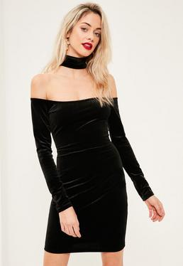 Tall Black Choker Neck Bardot Velvet Dress