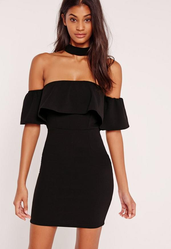 Tall Black Choker Neck Bardot Frill Shift Dress