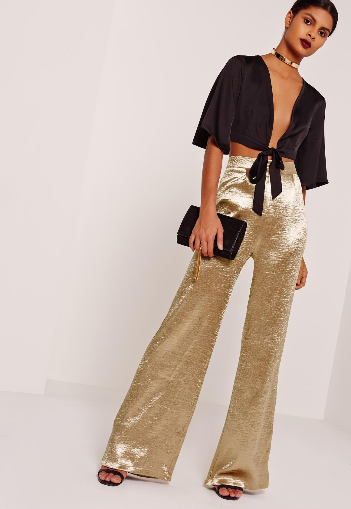 Gold Tall Hammered Satin Wide Leg Pants | Missguided