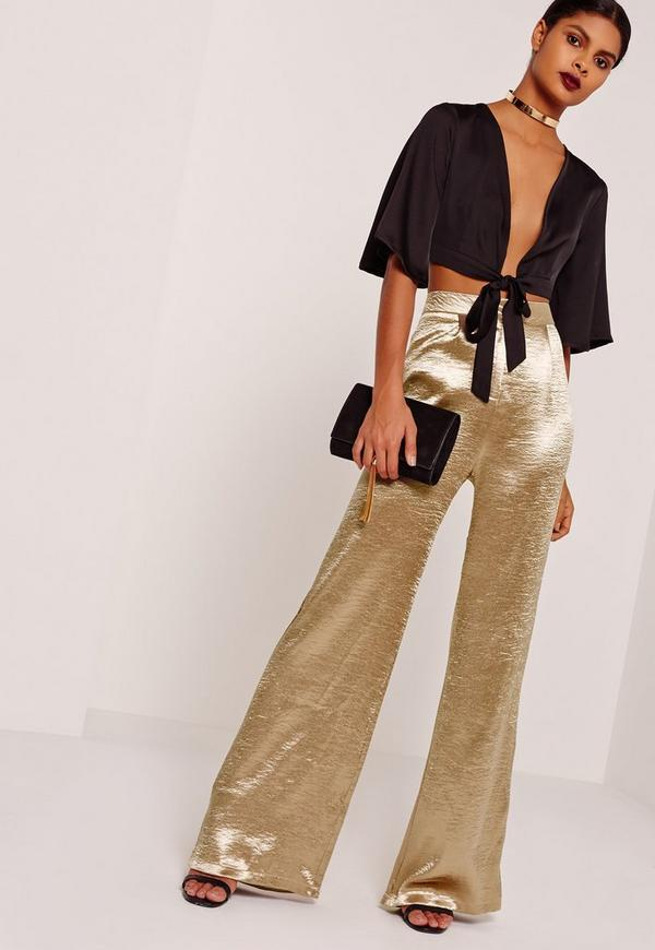 Gold Tall Hammered Satin Wide Leg Trousers