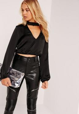 Tall Black Hammered Satin Choker Neck Blouse