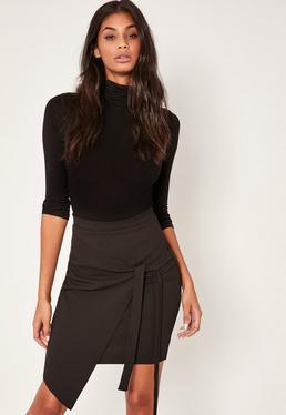 Black Tall Crepe Tie Front Wrap Mini Skirt