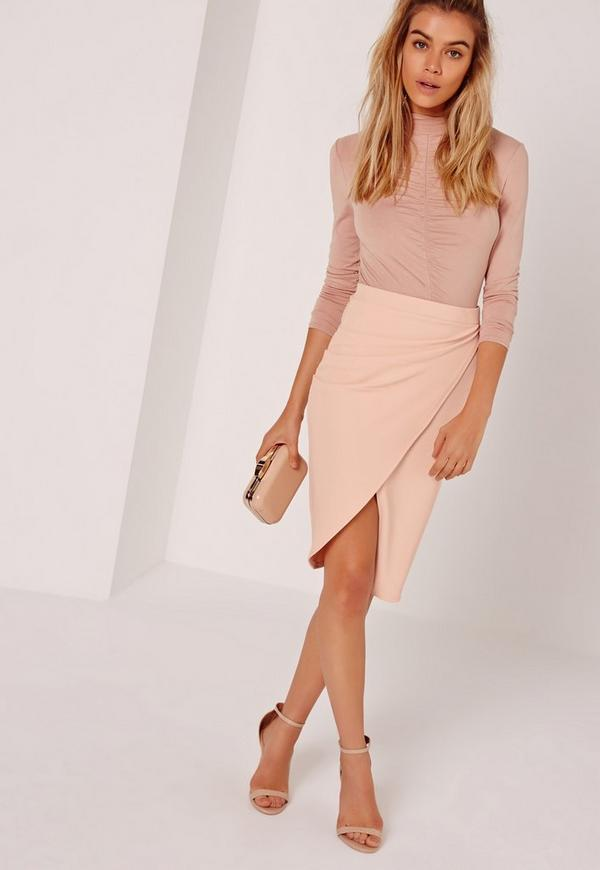 Tall Asymmetric Ruched Side Midi Skirt Nude