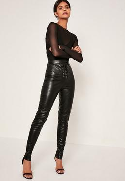 Tall Exclusive Black Faux Leather Lace Up Trousers