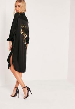 Black Tall Embroidered Back Shirt Dress