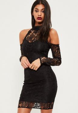 Tall Exclusive Black Lace Cold Shoulder Midi Dress