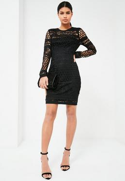 Tall Exclusive Black Lace Midi Dress