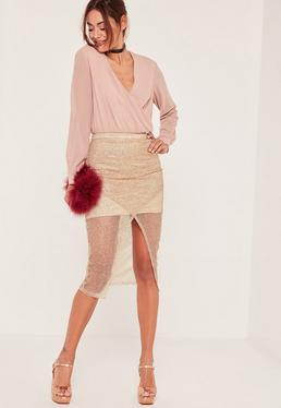 Tall Exclusive Gold Glitter Wrap Front Skirt