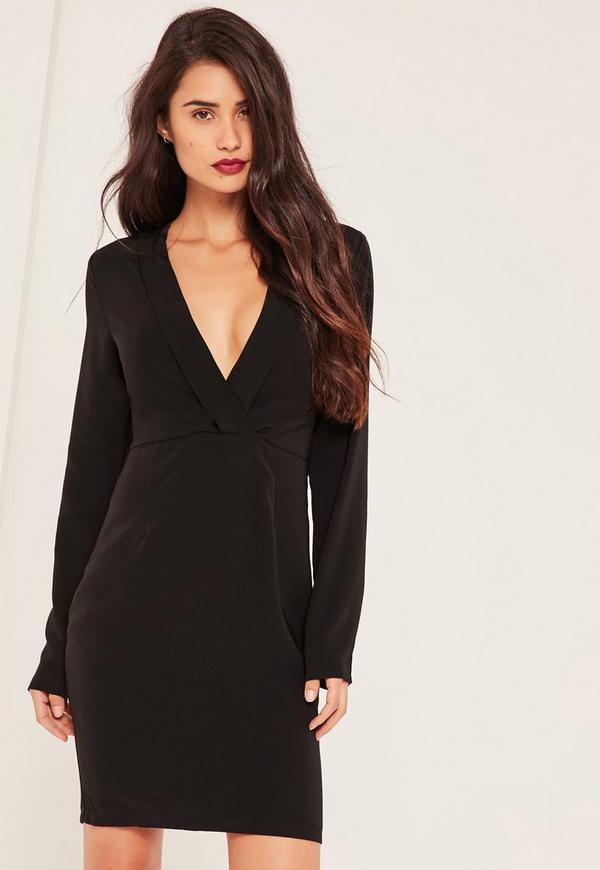 Tall Black Wrap Front Dress